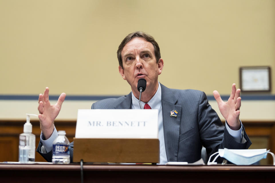Former Arizona Secretary of State Ken Bennett testifies during a House Oversight and Government Reform Committee hearing to examine a Republican-led Arizona audit of the 2020 presidential election results in Arizona's most populous county, Maricopa, on Capitol Hill in Washington, Thursday, Oct. 7, 2021. (Bill Clark/Pool via AP)