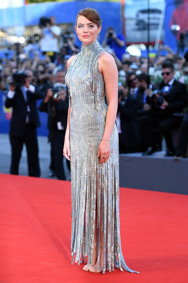 <p>The 27-year-old sparkled like a diamond in a flapper inspired fringed dress by Atelier Versace. <i>[Photo: Getty]</i></p>