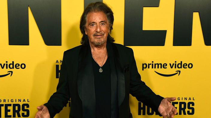 """Mandatory Credit: Photo by Chris Pizzello/Invision/AP/Shutterstock (10562004ch)Al Pacino, a cast member in the Amazon Prime Video series """"Hunters,"""" poses at the premiere of the show at the Directors Guild of America, in Los AngelesWorld Premiere of """"Hunters"""", Los Angeles, USA - 19 Feb 2020."""