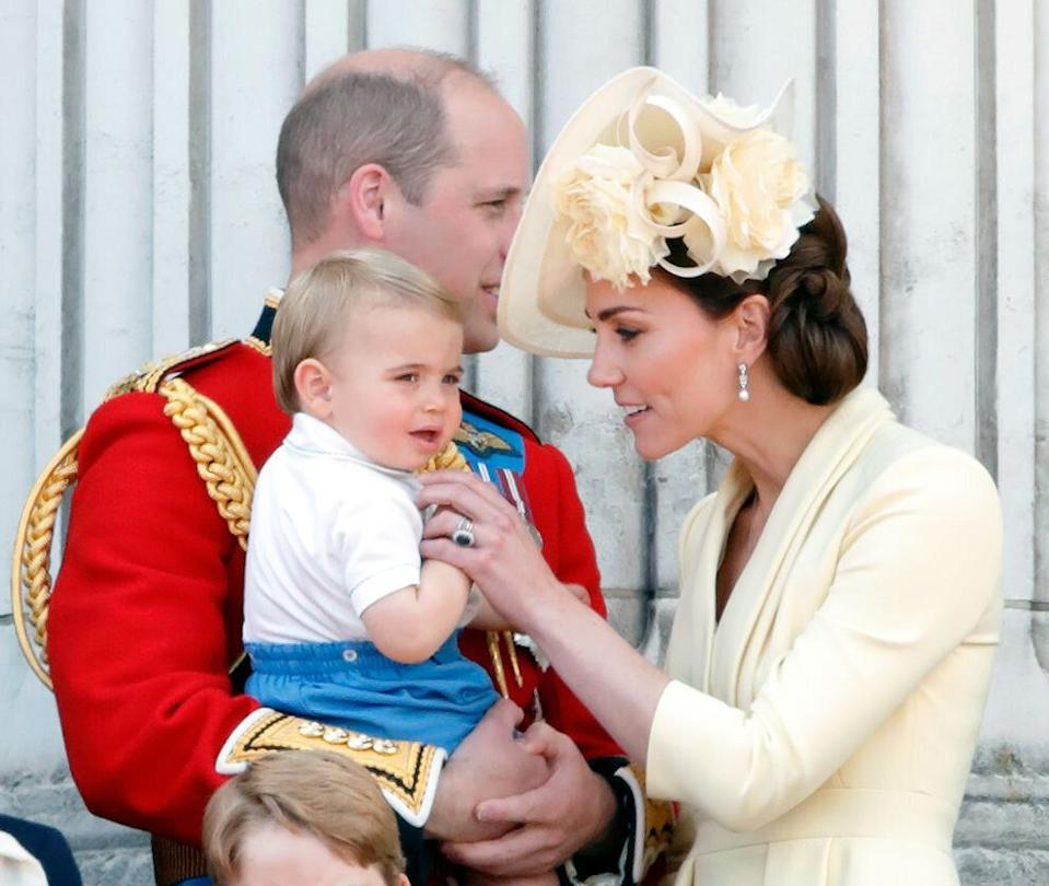 The Duchess of Cambridge gently stepped in to stop Prince Louis sucking his thumb [Photo: Getty]