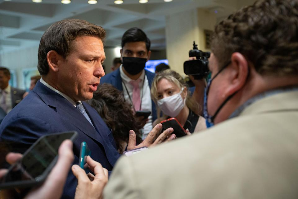 Gov. Ron DeSantis takes questions from journalists on the last day of the 2021 Florida legislative session, known as sine die, Friday, April 30, 2021.