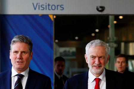 Britain's Labour Party leader Corbyn leaves a meeting with EU Chief Brexit Negotiator Barnier in Brussels