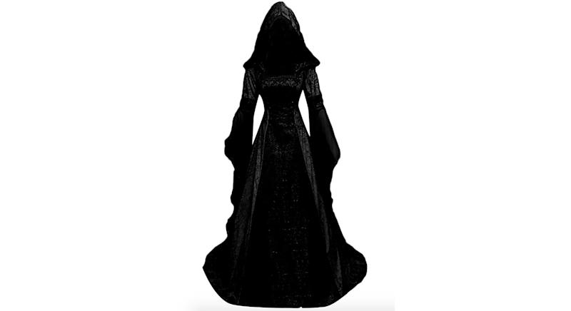 JURTEE Women's Dress Medieval Vintage Style Solid Oversize Hooded Dress