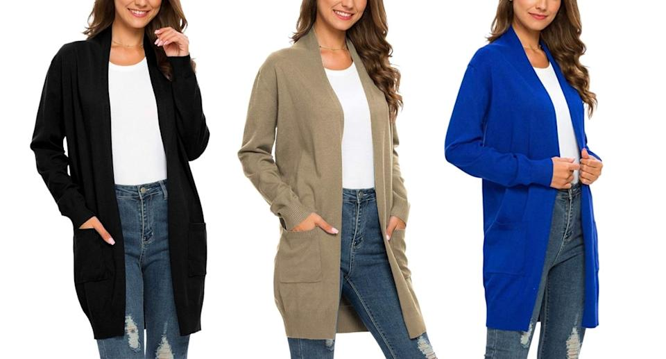 PCEAIHH's long open faced cardigan is a great lightweight option for fall. (Image via Amazon)