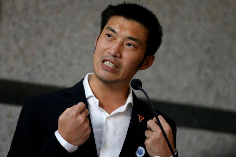 FILE PHOTO: File picture of Thanathorn Juangroongruangkit, leader of the Future Forward Party, speaking during a news conference in Bangkok