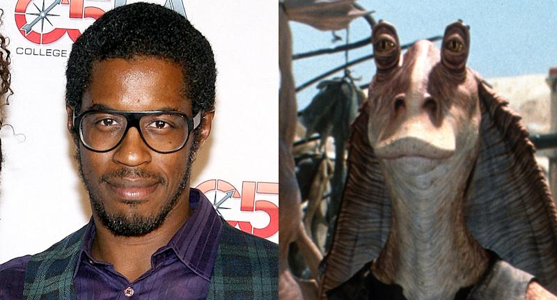 Ahmed Best and his Star Wars character Jar Jar Binks. More