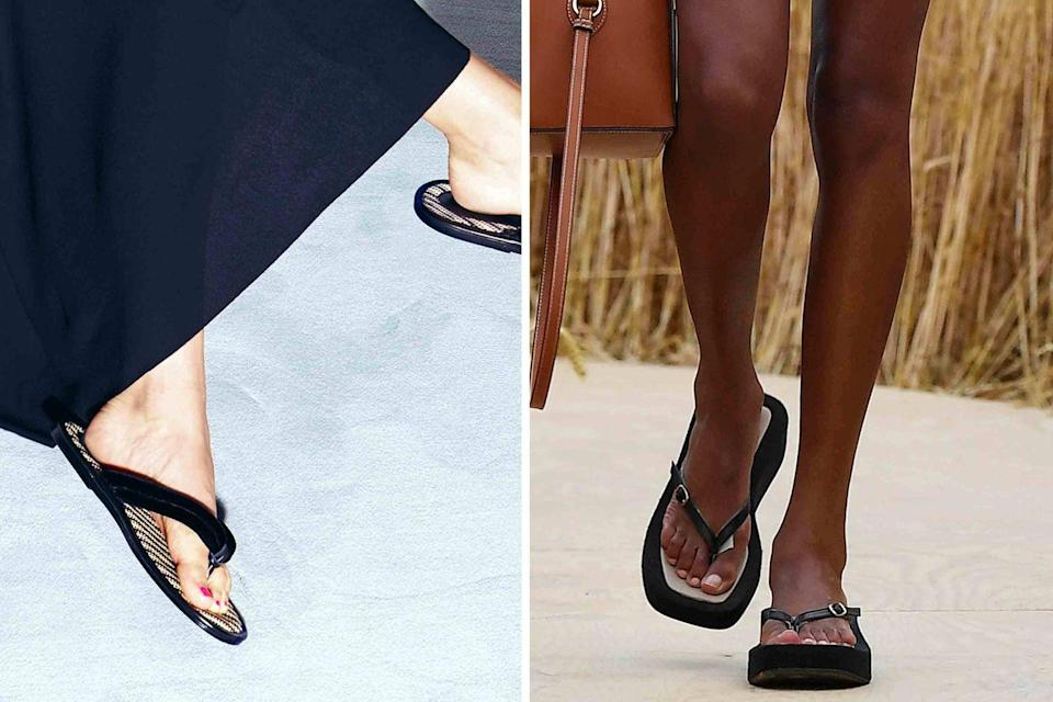 <p>Let's be clear: These are not your rubber shower shoes. Shown at Tom Ford (<em>left</em>) and Jacquemus (<em>right</em>), thong sandals have never looked more chic. The new iterations play with heights, proportion, elevated materials, and extra details like ankle wraps to give the classic summer staple a much-needed makeover.</p>