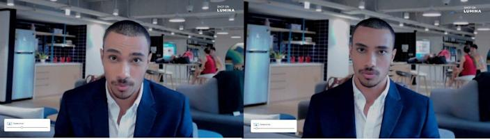 The businessman uses the Lumina 4K webcam's auto-framing cameraman feature to keep his image clear no matter how much he is moving.