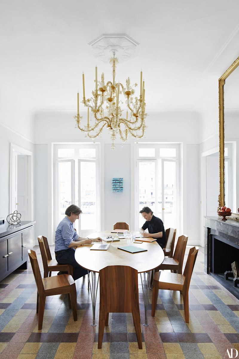 Homeowners Johan Creten (left) and Jean-Michel Othoniel. 1930 Oswald Dubach for Rudolf Steiner chairs; Piet Hein and Bruno Mathsson table.