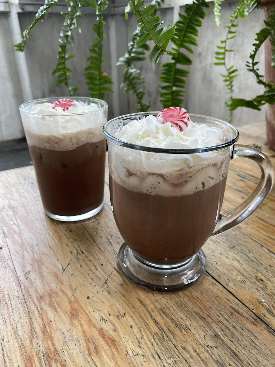 """<p>Made with strong coffee, steamed milk, mocha sauce, and peppermint-flavored syrup, it doesn't get much better than this latte.</p> <p><strong>Original Starbucks Drink:</strong> <a href=""""https://www.starbucks.com/menu/product/496/hot?parent=%2Fdrinks%2Fhot-coffees%2Fmochas"""" class=""""link rapid-noclick-resp"""" rel=""""nofollow noopener"""" target=""""_blank"""" data-ylk=""""slk:peppermint mocha latte"""">peppermint mocha latte</a></p> <p><strong>Homemade Version:</strong> <a href=""""https://www.popsugar.com/food/starbucks-peppermint-mocha-recipe-47891616"""" class=""""link rapid-noclick-resp"""" rel=""""nofollow noopener"""" target=""""_blank"""" data-ylk=""""slk:peppermint mocha coffee"""">peppermint mocha coffee</a></p>"""
