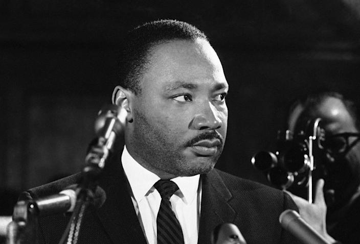 <p>Dr. Martin Luther King tells a news conference in Selma, Alabama on Feb. 5, 1965, that he feels there is a need for new legislation on the right to vote. (AP Photo/Horace Cort) </p>