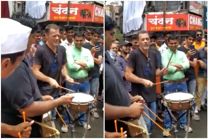 Watch: Hollywood Drummer of 'Matrix' Fame Takes to Mumbai Streets on Ganesh Chaturthi