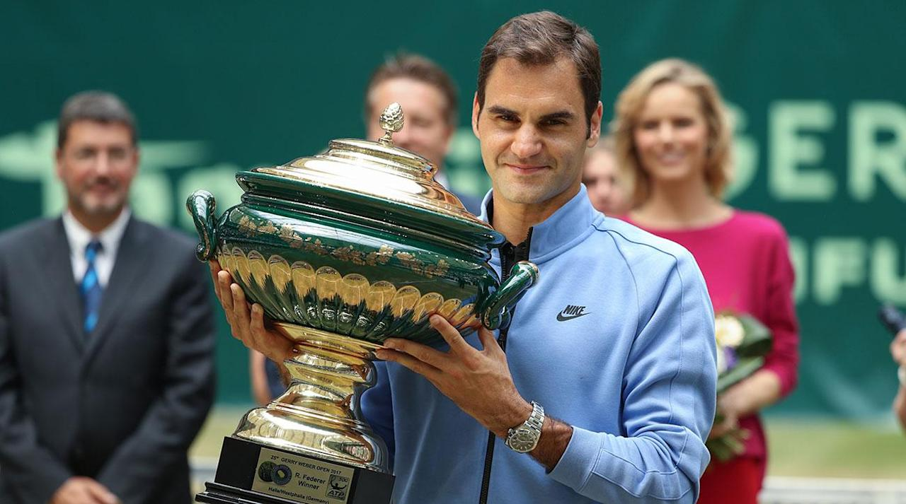 <p>HALLE, Germany (AP) Roger Federer defeated Germany's Alexander Zverev 6-1, 6-3 to win the Gerry Weber Open for a record ninth time on Sunday.</p><p>Playing in his 140th career final, Federer saved the only break point he faced and converted four of his eight opportunities to clinch his 92nd career title in 53 minutes. At 35, the Swiss player became the oldest winner of the grass-court tournament.</p><p>''I played unbelievably well. I felt good and never let up,'' said Federer, who dropped just nine points on his serve. ''It was my best game this week. Nearly everything worked out for me.''</p><p>Federer, who skipped the clay-court season after winning the Miami Open in early April, claimed his fourth title of the year, matching Rafael Nadal's tally, and he will be seeded ahead of his Spanish rival for Wimbledon, which starts in eight days.</p><p>Federer had already won the Australian Open before titles in Indian Wells and Miami in 2017.</p><p>The 18-time Grand Slam champion was surprised by German veteran Tommy Haas on his return from the two-month break last week in Stuttgart but brushed off any doubts over his form in Halle.</p><p>Against the 20-year-old Zverev, who lost last year's final to Florian Mayer, Federer raced to a 4-0 lead before wrapping up the first set in 22 minutes. Zverev created his only break chance in the opening game of the second, but ultimately was unable to show why he is regarded as one of the sport's brightest prospects.</p><p>''You could have been a bit nicer and allowed me a couple more points,'' Zverev joked to his idol.</p><p>Federer had words of affection for Zverev, who won their semifinal in Halle last year.</p><p>''He's a very nice lad. I'm very happy for him, how he's developed in the last years. The future belongs to him,'' Federer said.</p>