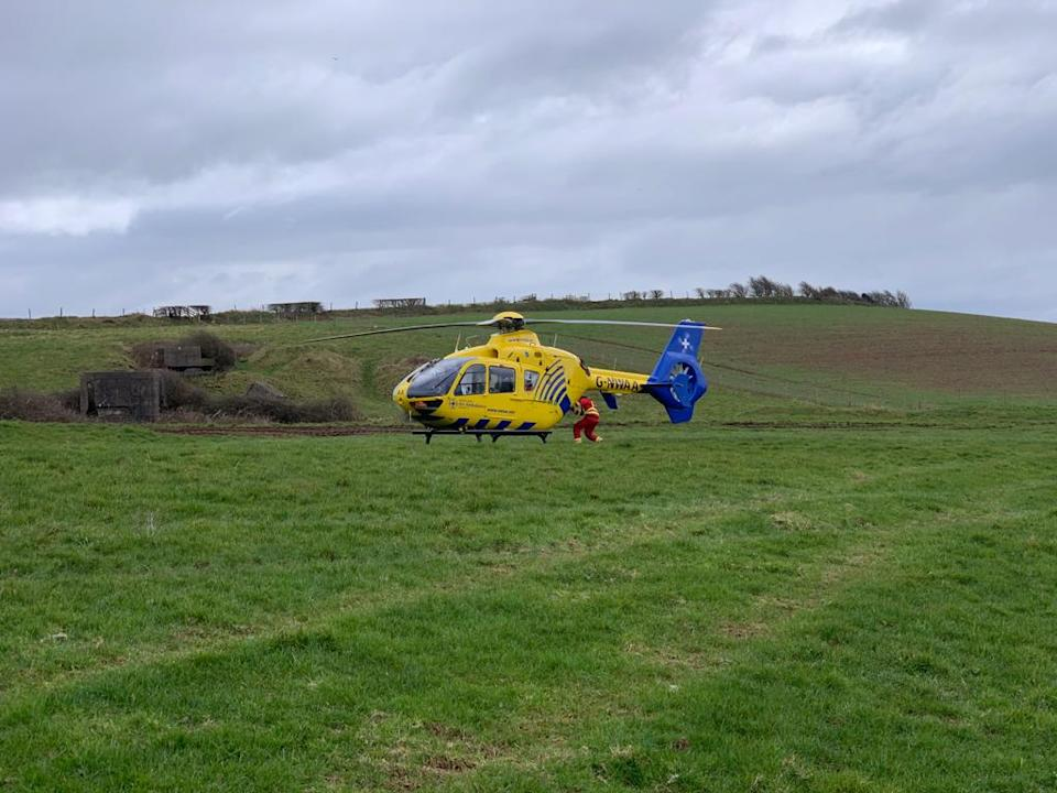 The farmer was airlifted to hospital where he was treated for chest injuries (CFRS/Twitter)
