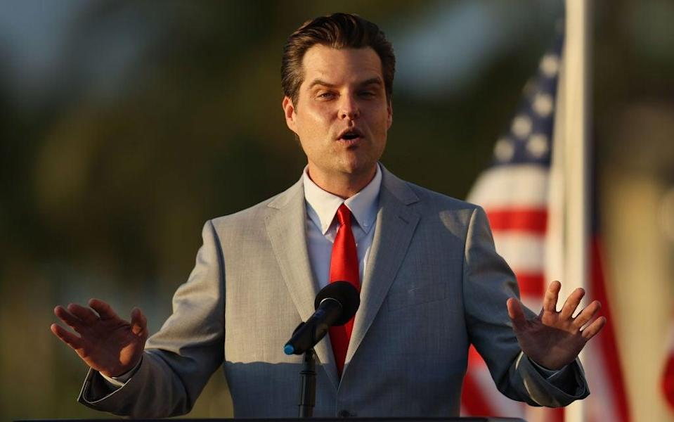 <p>Matt Gaetz references the sexual trafficking allegations he faces in a new speech</p> (Getty Images)