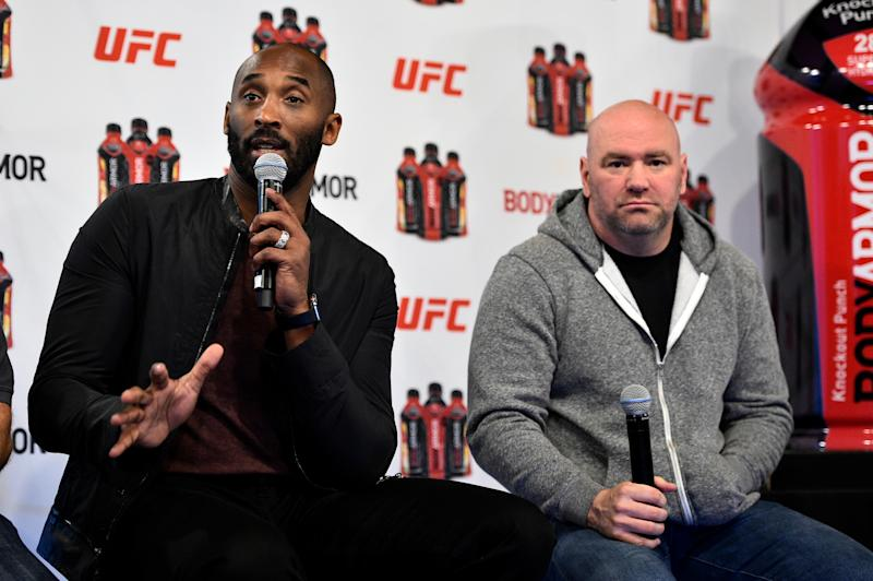 NEW YORK, NY - NOVEMBER 02: BodyArmor investor Kobe Bryant (L) and UFC President Dana White interact with media during the UFC BodyArmor partnership announcement inside Madison Square Garden on November 2, 2017 in New York City. (Photo by Jeff Bottari/Zuffa LLC/Zuffa LLC via Getty Images)