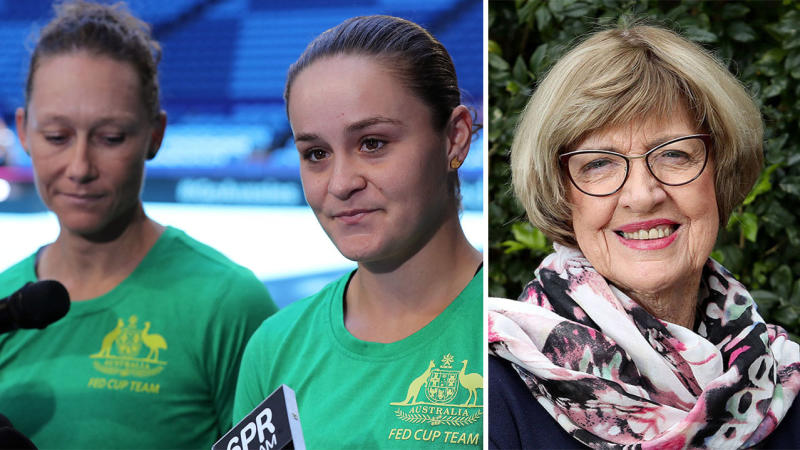 Team Australia Samantha Stosur and Ash Barty answers questions and will not being drawn into the Margaret Court controversy ahead of the Fed Cup Final.
