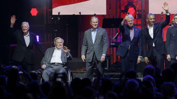 PHOTO: Former Presidents Jimmy Carter, George H.W. Bush, Bill Clinton, George W. Bush, and Barack Obama attend a concert at Texas A&M University benefiting hurricane relief efforts in College Station, Texas, Oct. 21, 2017. (LM Otero/AP)