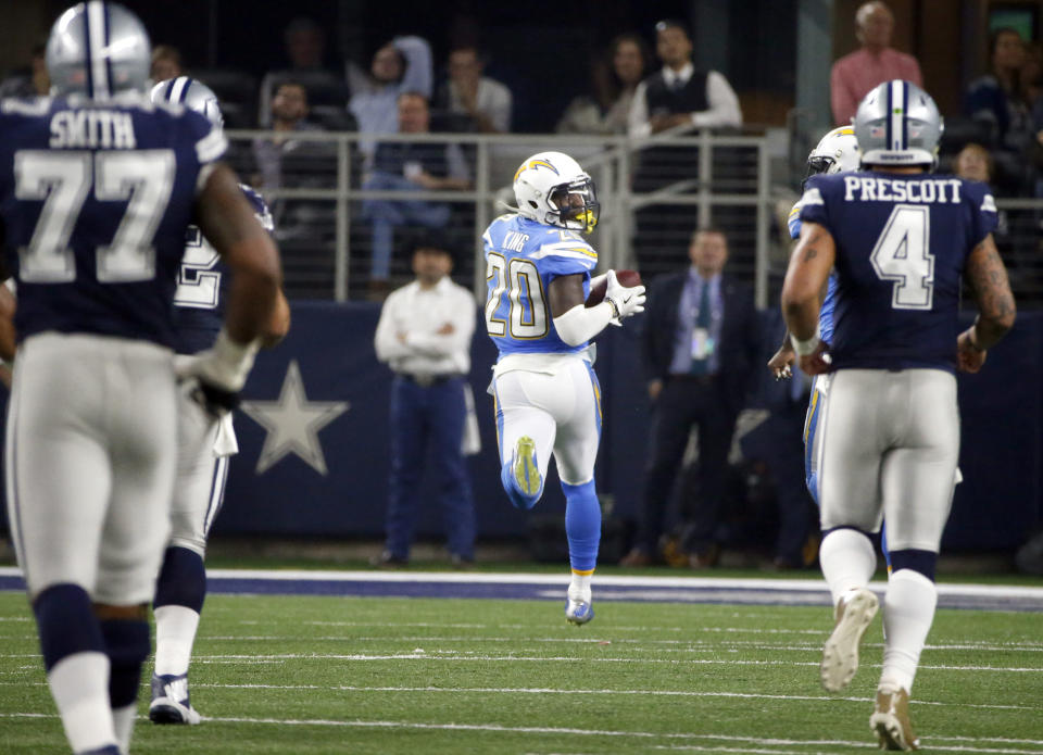 Not their best day: Dak Prescott and the Dallas Cowboys offense were chasing the Chargers on the scoreboard all day. (AP)