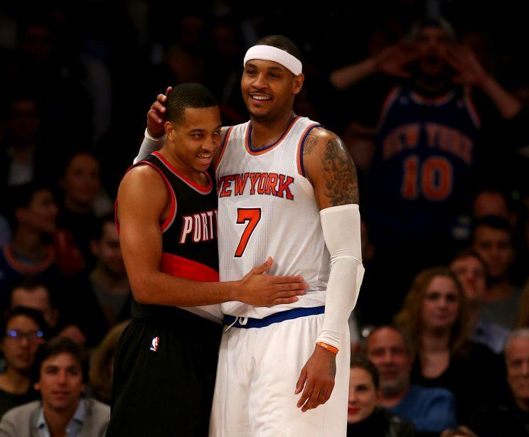 C.J. McCollum just wants to let Carmelo Anthony know he cares. (Getty)