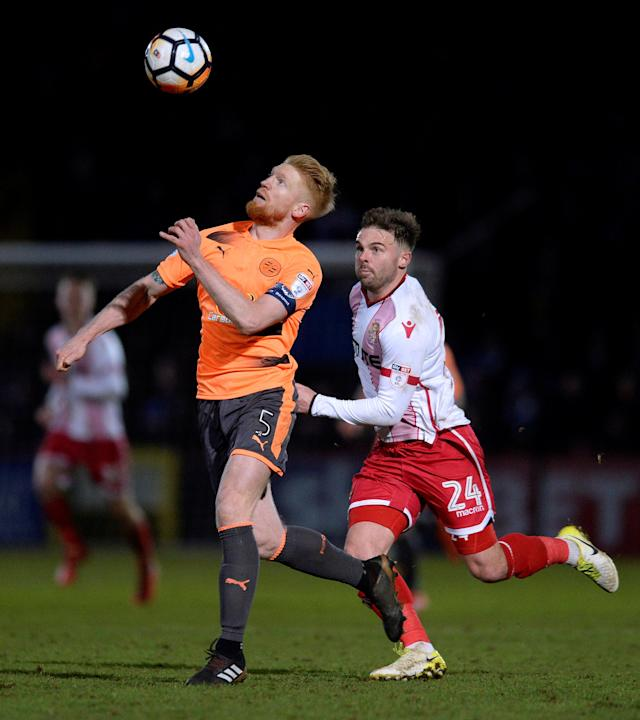 Soccer Football - FA Cup Third Round - Stevenage vs Reading - The Lamex Stadium, Stevenage, Britain - January 6, 2018 Reading's Paul McShane in action with Stevenage's Matthew Godden Action Images/Alan Walter