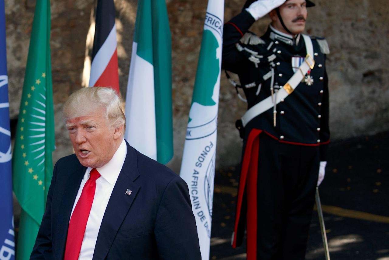 U.S. President Donald Trump arrives for a working session with outreach countries and international organizations at the G7 Summit, in Taormina, Italy May 27, 2017. REUTERS/Evan Vucci/Pool