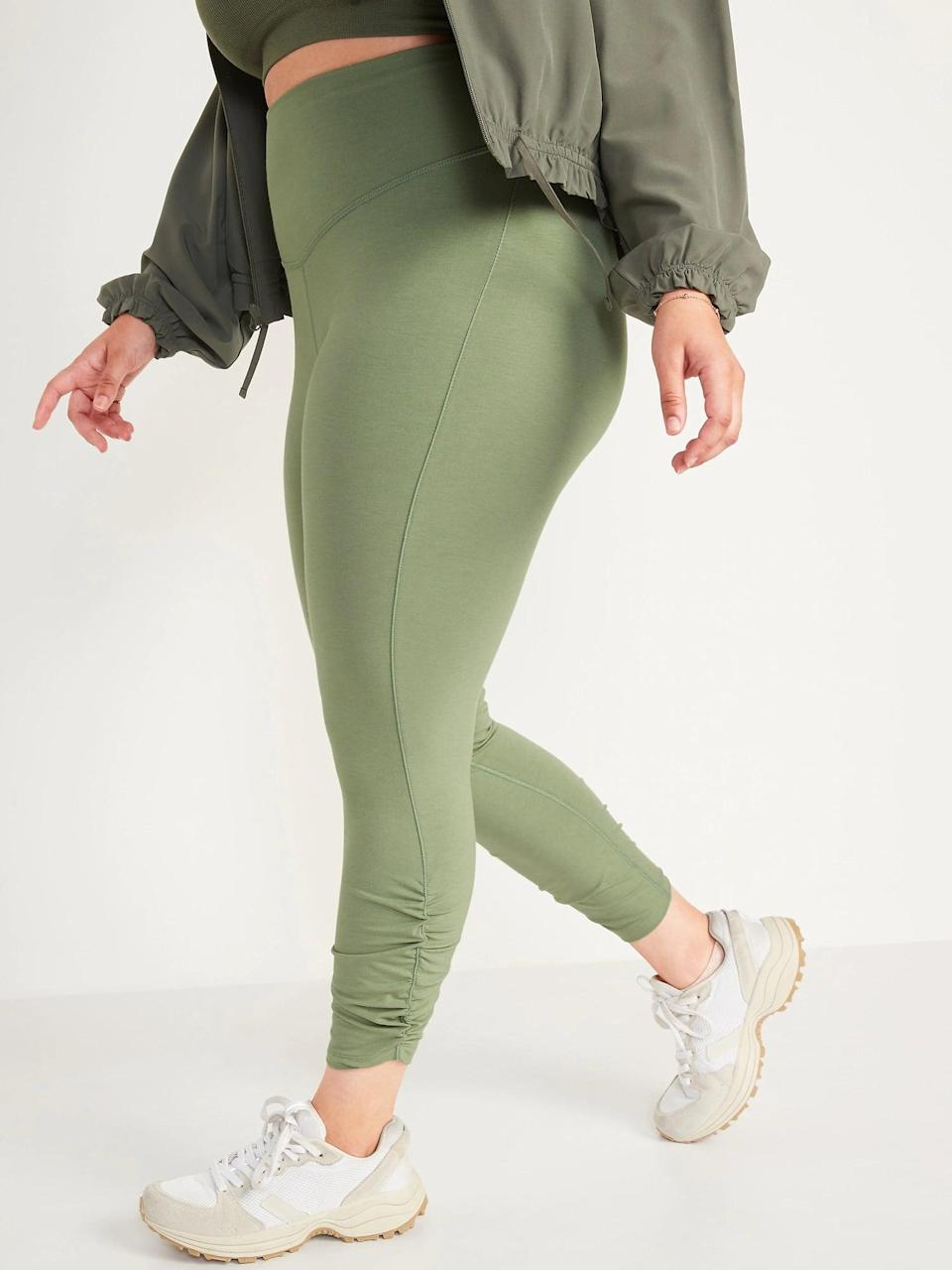 <p>This color is so fresh, I'm definitely opting for a pair of <span>Old Navy Extra High-Waisted PowerChill Ruched 7/8-Length Leggings in Weeping Willow</span> ($30) next.</p>