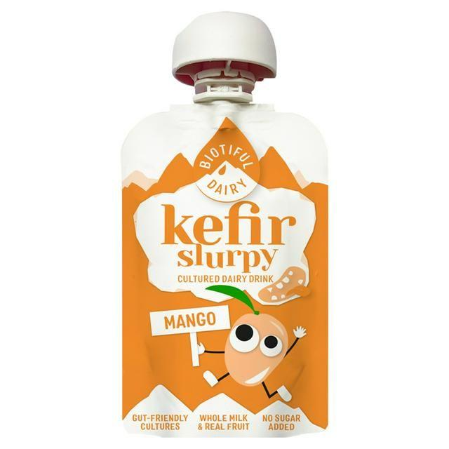 """<p>This thick yet smooth yogurt-style drink has a gentle mango aroma and flavour, and a creamy yet tangy finish. Our panel all thoroughly enjoyed the easy-to-transport packaging and deliciously indulgent flavour. This is a cultured dairy drink made from kefir and natural fruit, with no added sugar. As it's made with live cultures, it provides your body with a dose of gut-friendly bacteria that helps to support digestion and your immune system. Delicious and nutritious.<br></p><p><strong><a class=""""body-btn-link"""" href=""""https://www.sainsburys.co.uk/gol-ui/product/dairy-chilled-new/biotiful-slurpy-kefir-mango-100ml"""" target=""""_blank"""">BUY NOW</a> £0.60 per 100ml</strong></p>"""