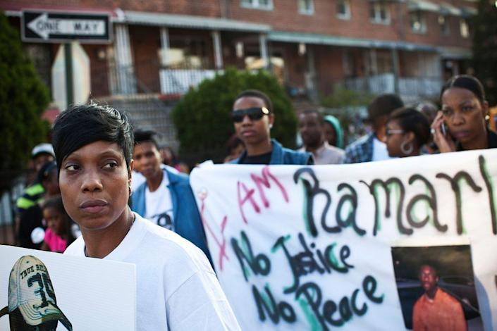 Constance Malcolm, mother of Ramarley Graham, leads a march to the New York City Police Department's 47th Precinct after a vigil for Graham on March 22, 2012 in the Bronx borough New York City. (Photo by Andrew Burton/Getty Images)
