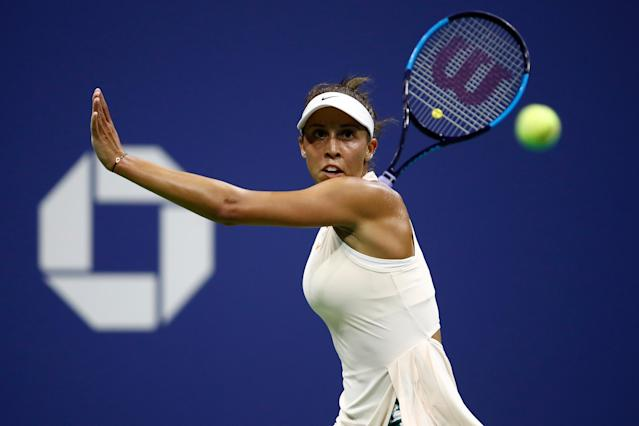 "<a class=""link rapid-noclick-resp"" href=""/olympics/rio-2016/a/1120688/"" data-ylk=""slk:Madison Keys"">Madison Keys</a> beat Spain's <a class=""link rapid-noclick-resp"" href=""/olympics/rio-2016/a/1195090/"" data-ylk=""slk:Carla Suarez Navarro"">Carla Suarez Navarro</a> on Wednesday in her U.S. Open quarterfinal match. (Getty Images)"