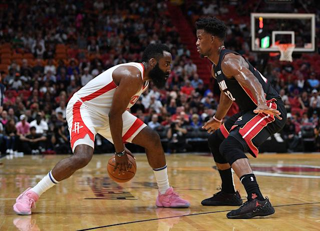 Despite a 29-point game from James Harden, the Rockets couldn't overcome a horrendously-slow start on Sunday night in Miami. (Mark Brown/Getty Images)