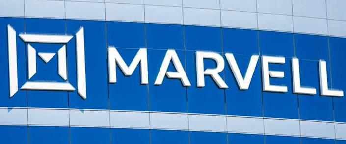 Marvell sign, logo on facade of Marvell Technology headquarters in Silicon Valley