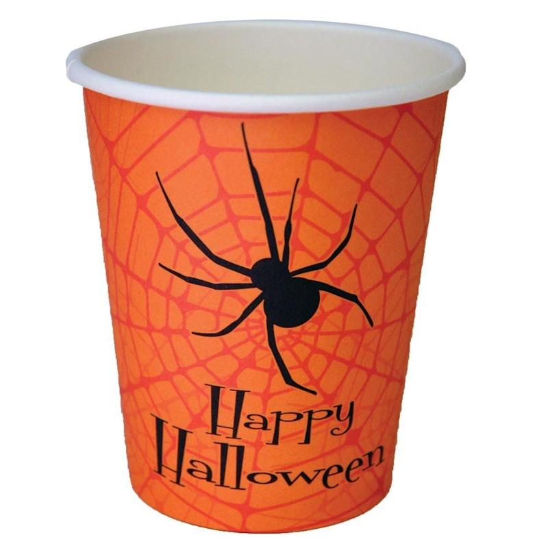 """Get them here at <a href=""""https://www.halloweenexpress.com/happy-halloween-party-cups-p-26225.html"""" target=""""_blank"""">Halloween Express</a> ($3) along with the matching <a href=""""https://www.halloweenexpress.com/halloween-party-napkins-p-26226.html"""" target=""""_blank"""">napkins</a>!"""