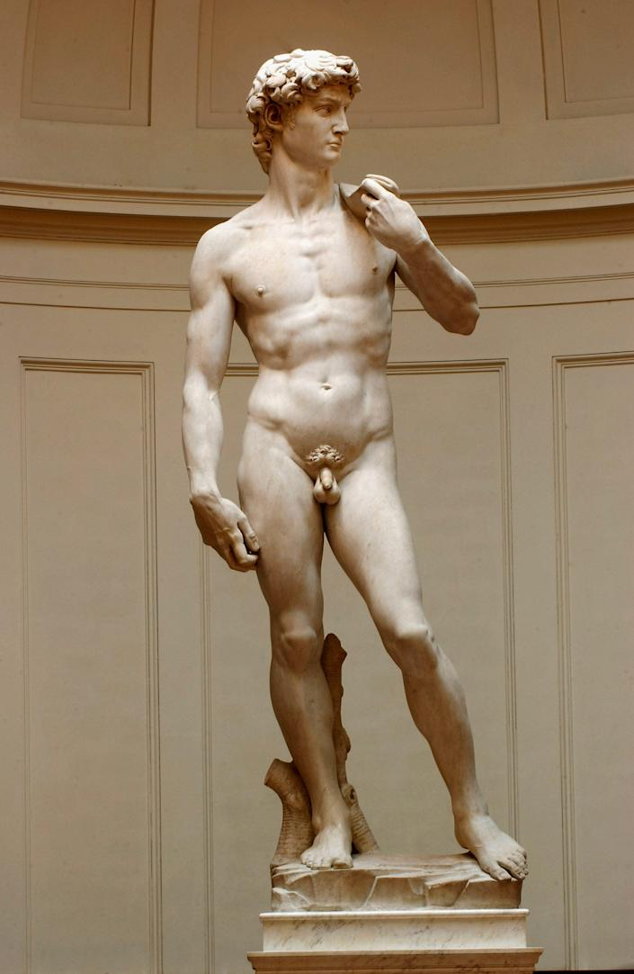 Restoration work on Michelangelo's masterpiece David is completed, May 24, 2004, at the Galleria dell'Accademia in Florence.