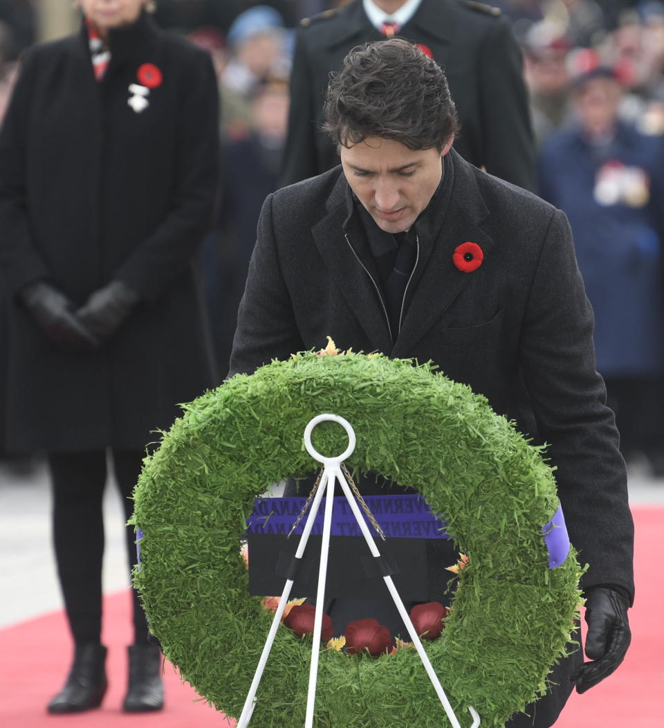 Prime Minister Justin Trudeau lays a wreath during the National Remembrance Day Ceremony at the National War Memorial in Ottawa, Monday, November 11, 2019. THE CANADIAN PRESS/Adrian Wyld