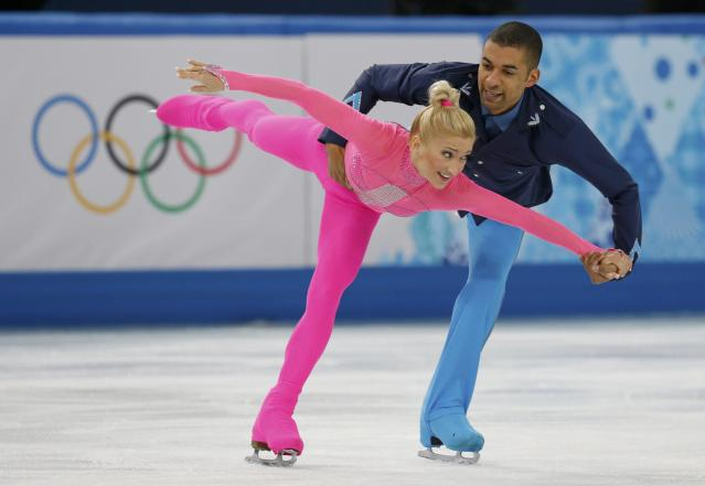 Germany's Aliona Savchenko and Robin Szolkowy compete during the Figure Skating Pairs Short Program at the Sochi 2014 Winter Olympics, February 11, 2014. REUTERS/Alexander Demianchuk (RUSSIA - Tags: OLYMPICS SPORT FIGURE SKATING)