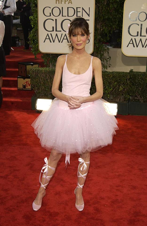 """We applaud fashion-forward stars who take risks on the red carpet. But Lara Flynn Boyle's ballerina ensemble from 2003, complete with tutu, was just too too much. Kevin Mazur/<a href=""""http://www.wireimage.com"""" target=""""new"""">WireImage.com</a> - January 19, 2003"""