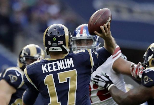Case Keenum tossed four interceptions in Sunday's defeat in London against the New York Giants. (AP)