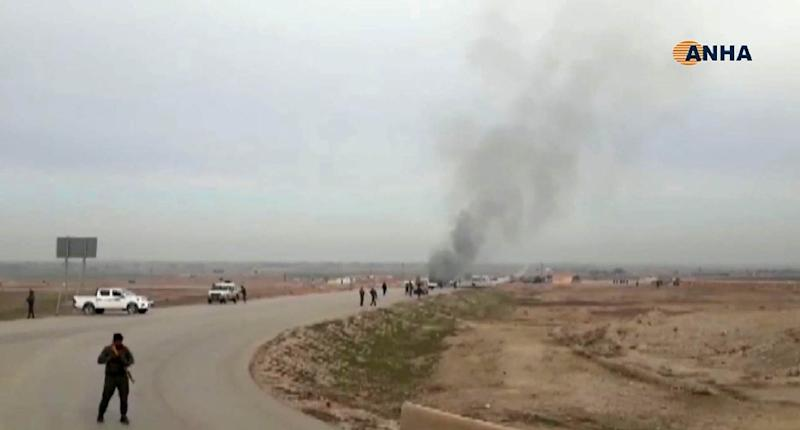 An image grab taken from a video published by Hawar News Agency (ANHA) on January 21, 2019 shows the scene of a suicide car bomb attack on an anti-jihadist coalition convoy in Syria's northeastern Hasakeh province (AFP Photo/-)