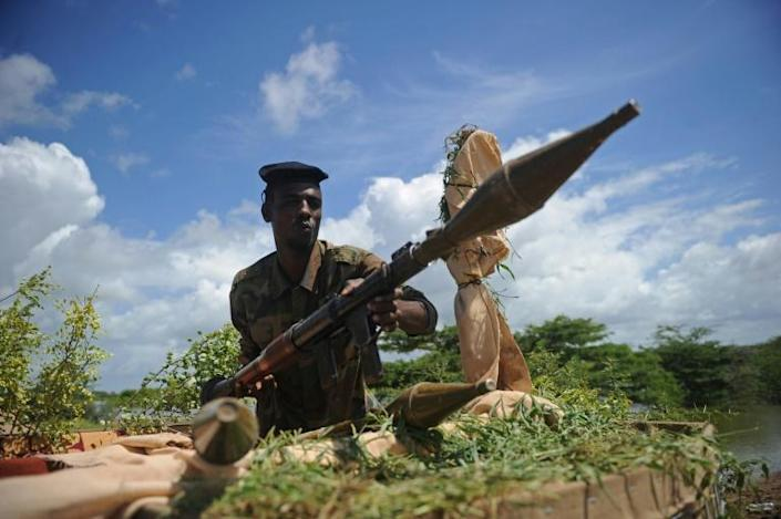 A Somali soldier on guard at the Sanguuni military base, where a US special operations soldier was killed in a mortar attack in June 2018 (AFP Photo/Mohamed ABDIWAHAB )
