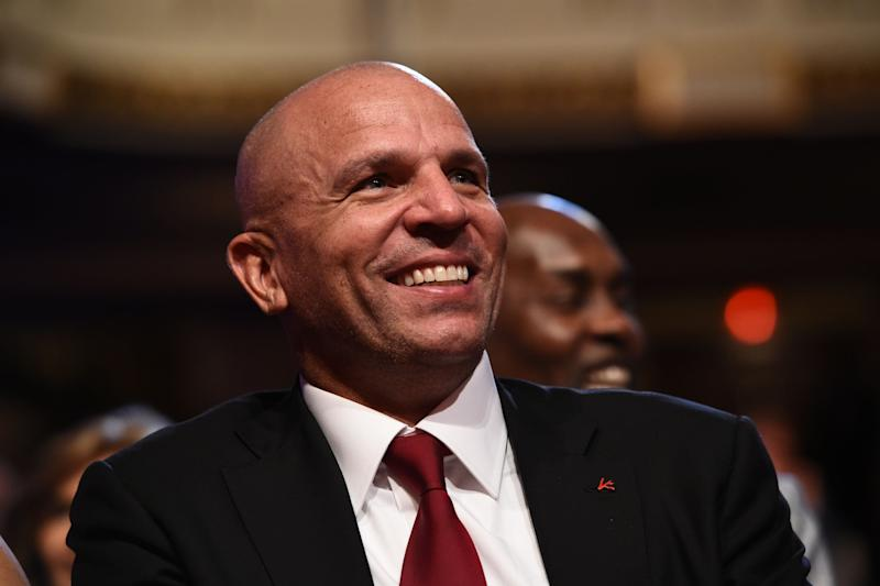 SPRINGFIELD, MA - September 7: Inductee Jason Kidd during the 2018 Basketball Hall of Fame Enshrinement Ceremony on September 7, 2018 at Symphony Hall in Springfield, Massachusetts. NOTE TO USER: User expressly acknowledges and agrees that, by downloading and/or using this photograph, user is consenting to the terms and conditions of the Getty Images License Agreement. Mandatory Copyright Notice: Copyright 2018 NBAE (Photo by David Dow/NBAE via Getty Images)
