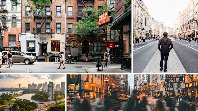 Clockwise: New York, London, Singapore, San Francisco. These cities ranked best in the world for attracting global talent. (Source: Getty)