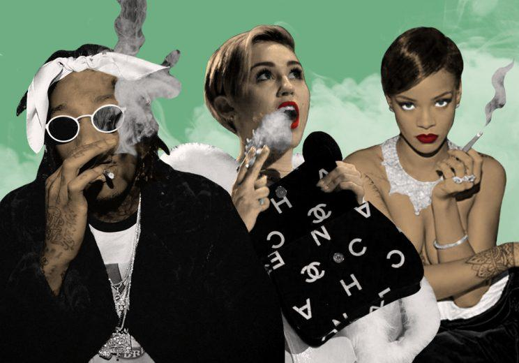 Wiz Khalifa, MileyCyrus, and Rihanna are vocal about their support for weed. (Illustration: Instagram/FilmMagic/Danny Miller/Yahoo Celebrity)