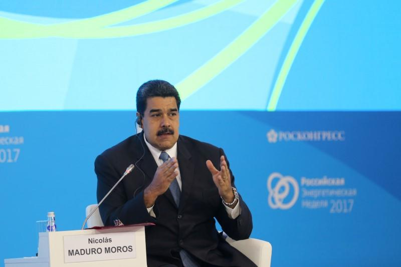 Venezuela's President Nicolas Maduro speaks during a meeting at the Russian Energy Week 2017 forum in Moscow