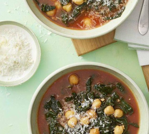 """<p>Chickpeas are a great source of plant-based protein, and make for an amazing addition to any soup. Topped off with pecorino cheese, this soup is both healthy and delicious.</p><p><em><a href=""""https://www.womansday.com/food-recipes/food-drinks/a25941056/kale-and-chickpea-soup-recipe/"""" rel=""""nofollow noopener"""" target=""""_blank"""" data-ylk=""""slk:Get the Kale and Chickpea Soup recipe."""" class=""""link rapid-noclick-resp"""">Get the Kale and Chickpea Soup recipe.</a></em></p>"""