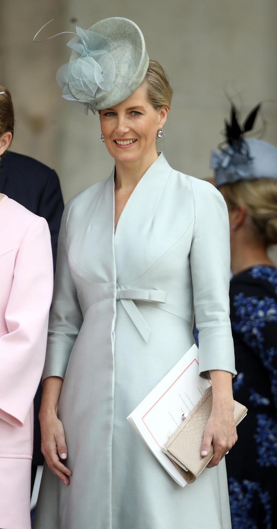 <p>Sophie, Countess of Wessex, dressed, like Kate, in a pale blue ensemble and matching hat. <i>(Photo: PA Images)</i><br></p>