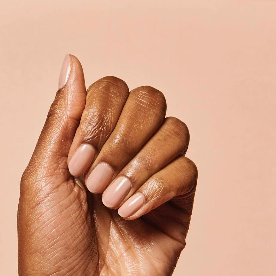 "It's 2020, so we all know by now that ""nude"" doesn't mean beige. Find a nude that works for you and throw on a super-shiny topcoat for a look that will never go out of style."