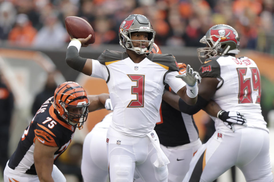 Tampa Bay Buccaneers quarterback Jameis Winston threw four interceptions and was benched. (AP)
