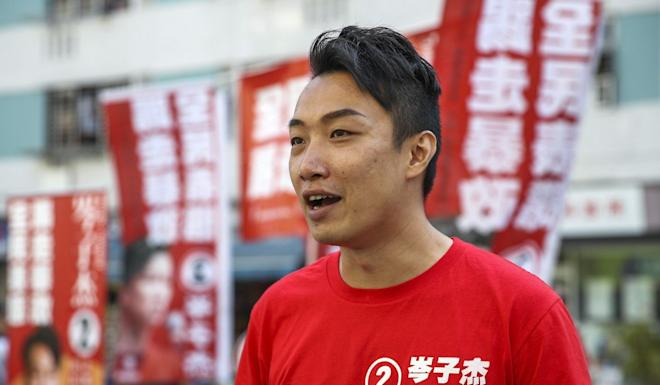 Pro-democracy candidate Jimmy Sham at a polling station in Lek Yuen Estate. Photo: Winson Wong
