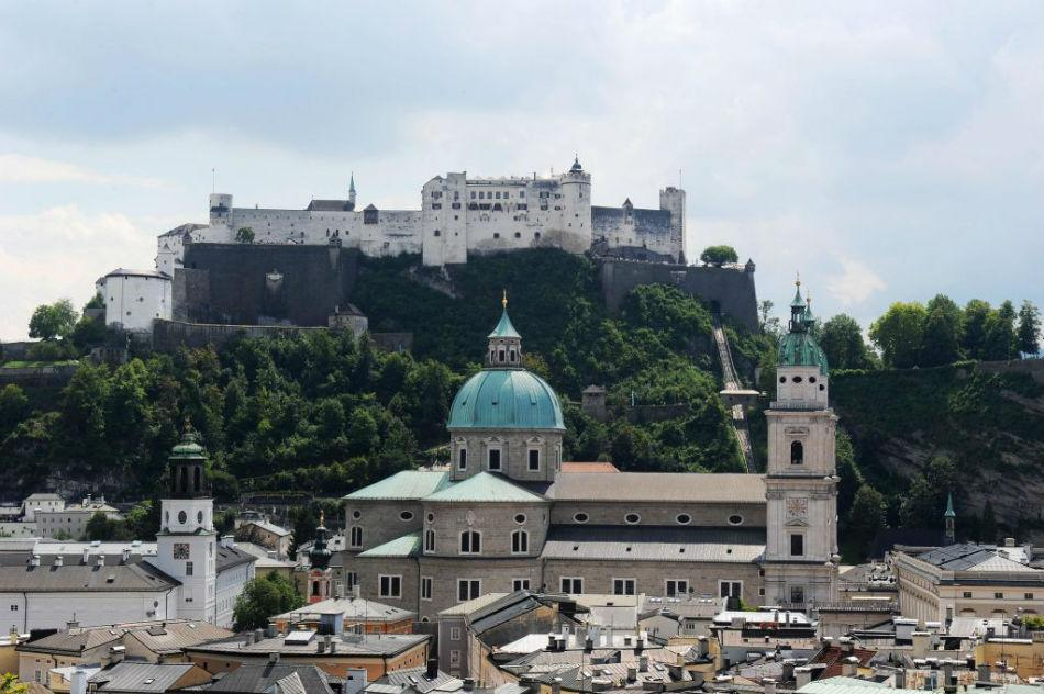 Fortress Hohensalzburg and Salzburg cathedral in the old town center.